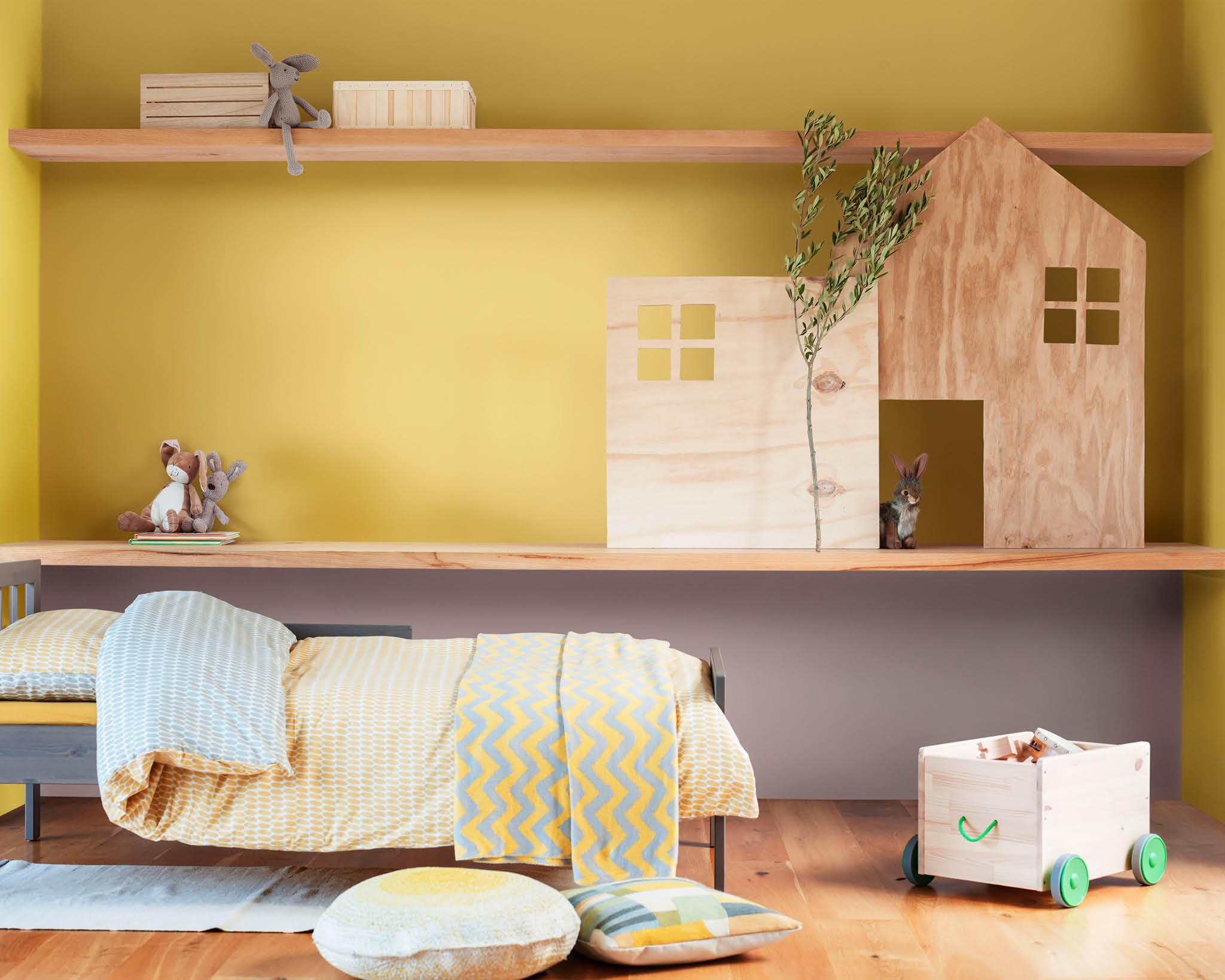 Pair yellow and Heart Wood in your child's bedroom