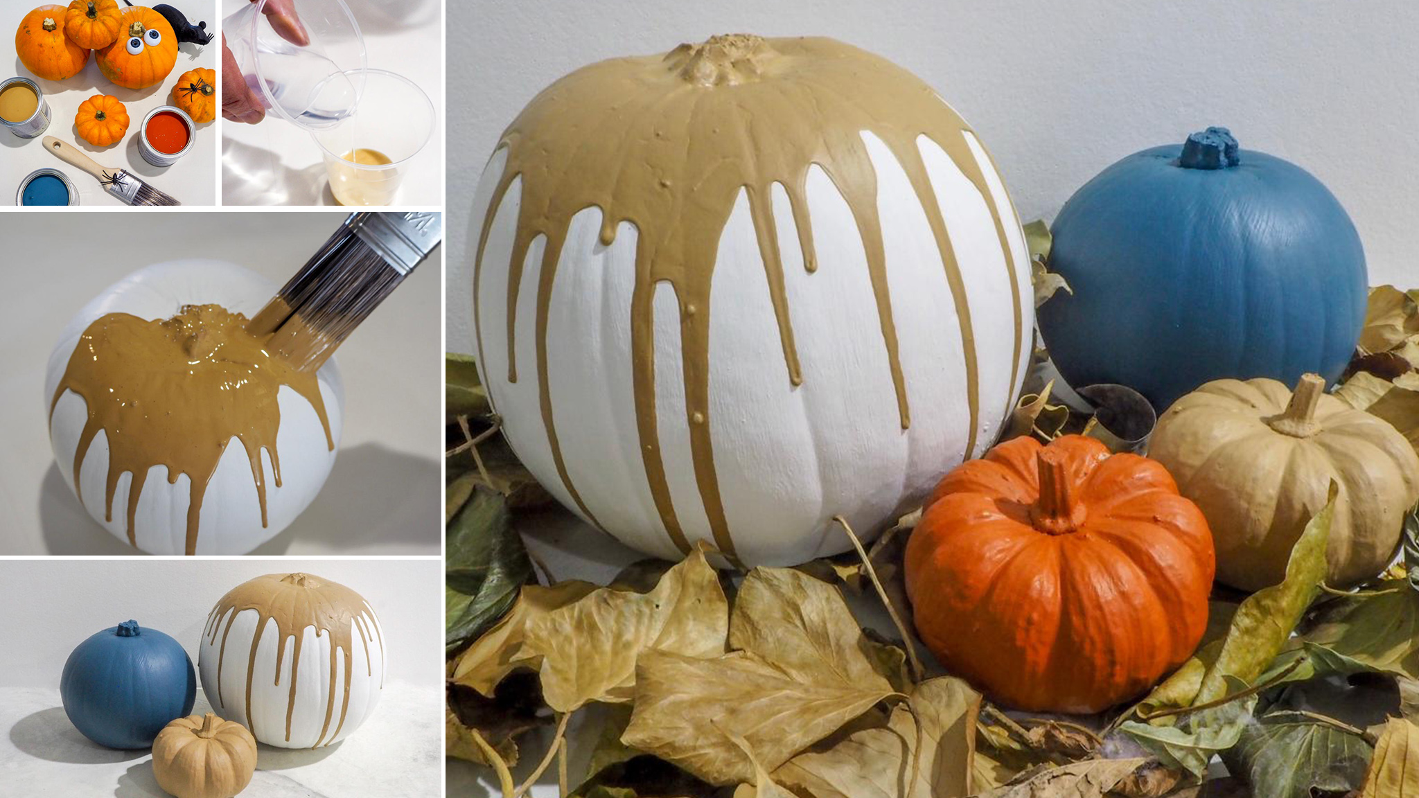 Drip-effect on painted pumpkins
